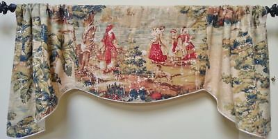 Covington Bosporus Antique Red Scalloped Window Curtain Valance French Country T