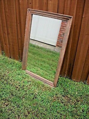 "large mirror vintage 41"" x 27"" Wood HEAVY Farmhouse Shabby Chic Primitive Lodge"