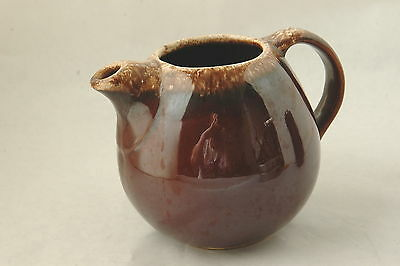 hull Oven Proof USA Brown Pottery Pitcher w/ handle and decoractive cream top