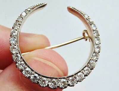 Fine Antique Edwardian 15ct Gold Diamond (1.70cts) Crescent Brooch c1910 in Case