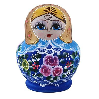 10Pcs Cute Babushka Nesting Dolls Matryoshka Wooden Russian Painted Doll Toys JJ