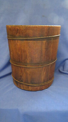 Early Double Ended Primitive Wood Grain Mill Dry Measure Farm Tool Banded Bucket