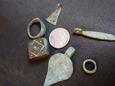 Rome lot! Byzantine Bronze Weight Ring & Pendants Ancient Bronze Hanger