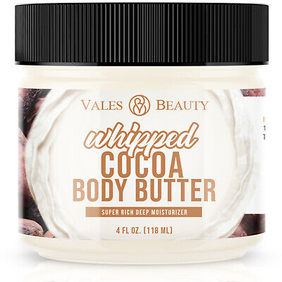 Cocoa Butter & Shea Body Butter Cream 4oz 100% Raw Natural For Dry & Rough Skin