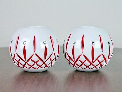 2 Vintage Waterford Holiday Heirlooms Red White Jewel Tealight Candle Holders