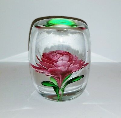 "Beautiful Vintage Large Flower Rose Art Glass Paperweight 4""X3"" 4 Lbs Lamp Work"