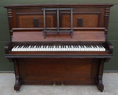 Antique Edwardian Mahogany Upright Piano by Joseph Wallis & Sons