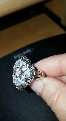 Silver Plated Multi  Stone CZ With Marcasite Ring - Size 7.25