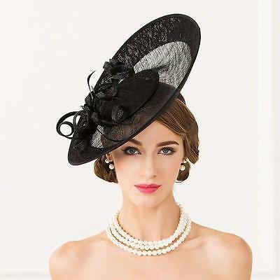 095eb81428795 Women's Kentucky Derby Church Wedding Noble Dress linen feather Sinamay HAT  Tops