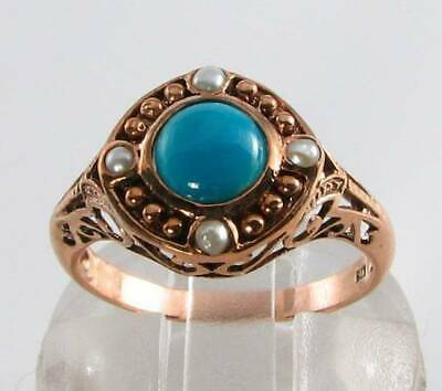 Lush 9Ct 9K Rose Gold Persian Turquoise & Peral Art Deco Ins Ring Free Resize