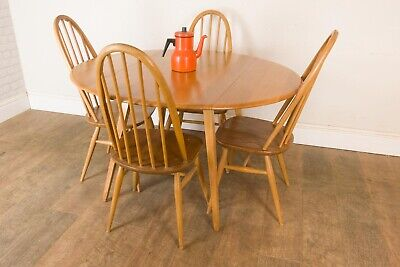 Vintage Retro Light Elm Oval Drop Leaf Dining table and 4 Quaker Chairs Ercol