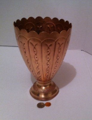 Vintage Solid Copper and Brass Vase, Table Art, Shelf Display, Home Decor, 9 x 6