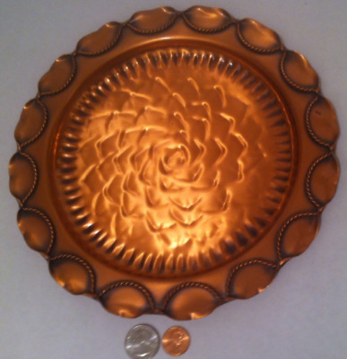 Vintage Metal Copper Wall Hanging Plate, Solid Copper, Made in USA, Gregorian
