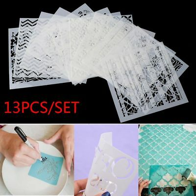 13pcs Layering Stencils for Walls Painting Scrapbooking Stamp Photo Album Decor!