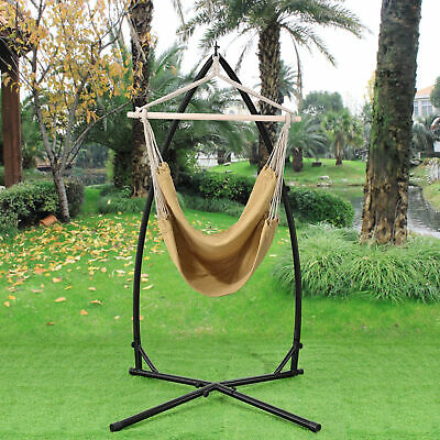 [casa.pro]® Hammock Hanging Chair with Stand Camping Garden Beige Cream