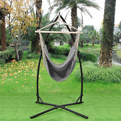 [casa.pro]® Hammock Hanging Chair with Stand Camping Garden Grey