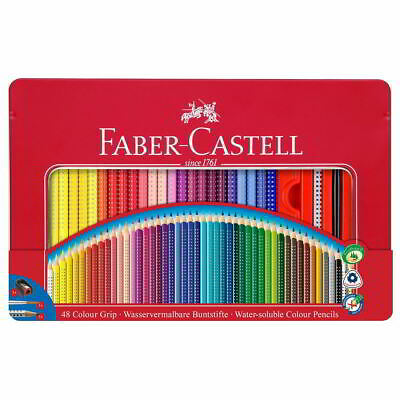 Lápices Acuarelables FABER-CASTELL Colour Grip, Estuche Metal x48 Colores