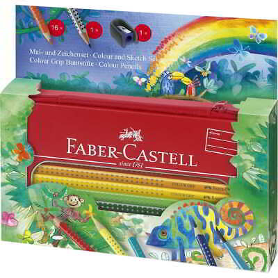 Lápices Acuarelables FABER-CASTELL Colour Grip Jungla, Estuche Metal x16 Colores