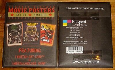 Classic Movie Sci-fi & Horror Posters 2 Trading Cards Sealed Pack with Sketch ++