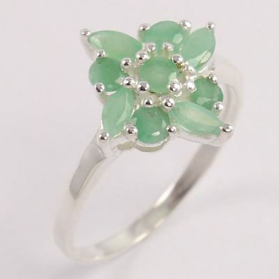 925 Sterling Silver Jewelry Ring Size US 8.75 Natural EMERALD Faceted Gemstones