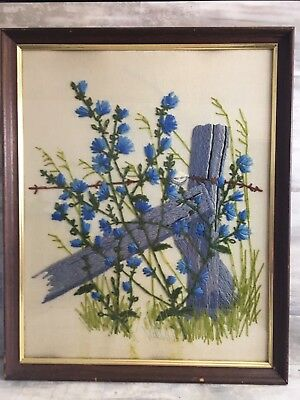 Vtg Framed Crewel Embroidery Field Flowers Blue Finished Fence Country Glass
