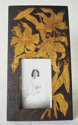 Pokerwork Antique Pyrography Photo Picture Frame Flowers Lily Victorian