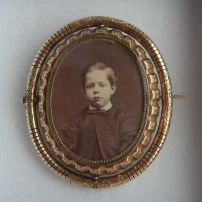 Stunning Victorian Pinchbeck Double Photo Locket Boy & Granny Mourning Brooch