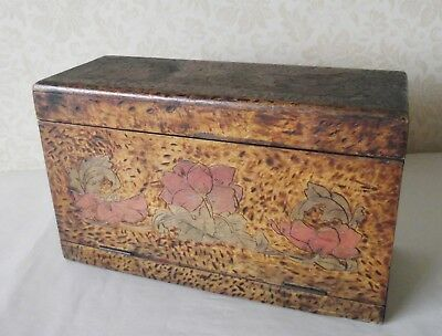 Pokerwork Antique Pyrography Box Artist Painting Dressing Table Lady Victorian