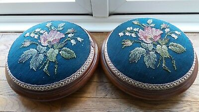 Pair Victorian Footstools Bead Beaded Hellebore Flowers Blue Mahogany Antique