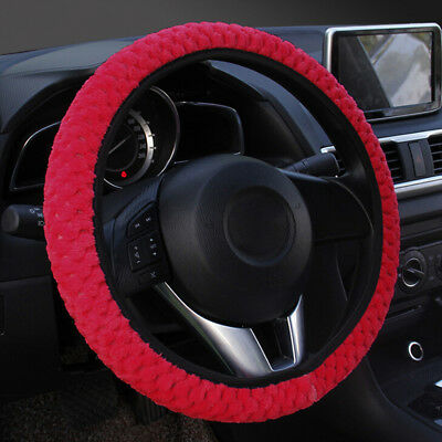 1PC Winter red soft warm plush velvet car steering wheel cover auto car decorMA