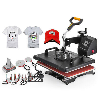 8In1 Digital Heat Press Machine Transfer T-Shirt Cap Rotation Clamshell