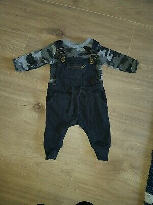 Boys Next Camouflage Khaki Dungaree Outfit Set Long Sleeved Top Trousers 3-6 mth