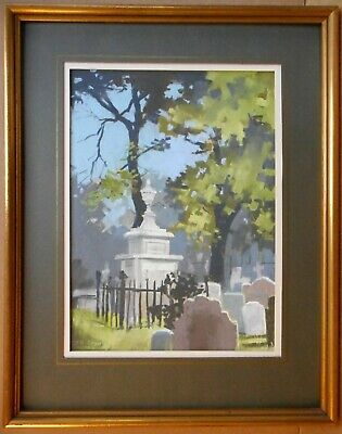 Hogarth's Tomb. Pastel by listed artist Christopher Assheton-Stones PS 1978