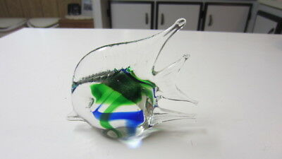 Figural Fish Paperweight with Blue & Green Swirl, 4 in. Tall & 5 in. Long (MD)