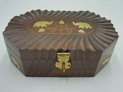 Solid Wood Lined Storage Box inlaid with Brass Elephants