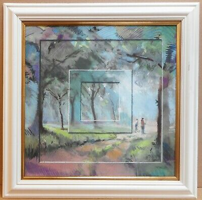Forest Walk. Pastel by listed artist Christopher Assheton-Stones PS 1993