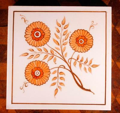 RARE ANTIQUE Hand Painted Orange Floral Flower Minton Hollins Victorian Tile C