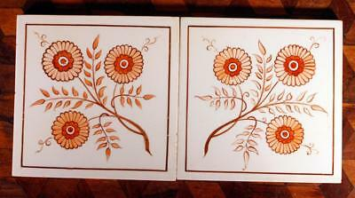 RARE ANTIQUE Pair (2) Hand Painted Orange Floral Minton Hollins Victorian Tile A