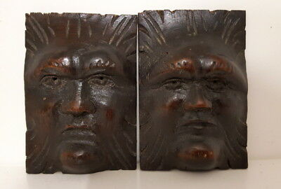 2 Carved wood mount Face Antique salvage architectural
