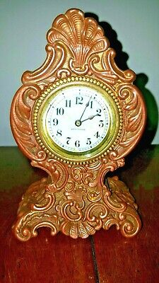 Antique Novelty Seth Thomas Boudoir / Bed Side Clock w/ Porcelain Dial, Circa 18