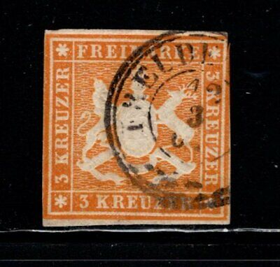 Item No. A6895 – Germany: Wurttemberg – Scott # 15 – Used