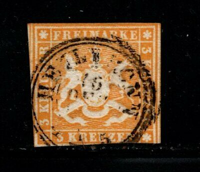 Item No. A6898 – Germany: Wurttemberg – Scott # 15 – Used