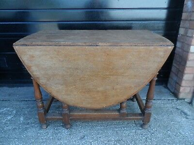 Vintage Solid Oak Folding Drop Leaf Gate Leg Dining Table