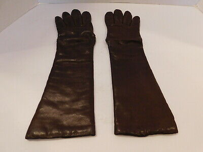 *Designer Ladies Brown Leather Winter Gloves Acrylic Knit Lining Size 6.5