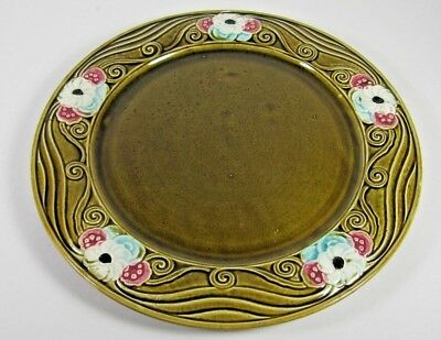 LARGE Antique Majolica Plate French c1900 ORCHIES Art Nouveau Platter Tray