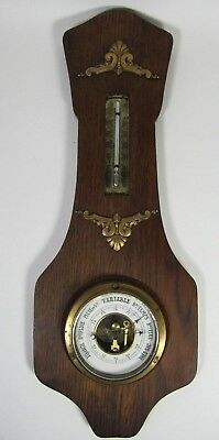 French Oak Wooden Barometer Antique Wall Art Nouveau Thermometer Weather Station