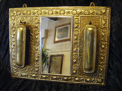 Vintage Brass Wall Mirror & Clothes Brushes