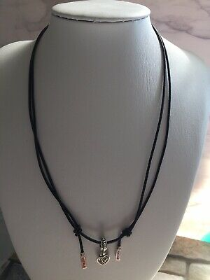 7acdd0793 Pandora leather black cord necklace 925 sterling silver W Heart Charm W Box.