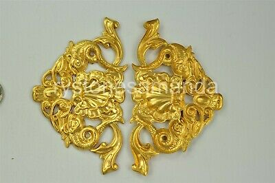 2 Vintage 109x63mm Victorian Very Large Raw Brass Stampings, Nice Detail -V4083