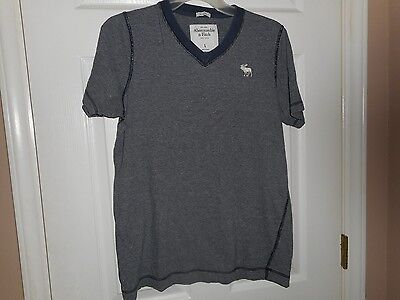 Abercrombie 7 Fitch New York Junior Boys Striped Dark Blue Shirt Size Large